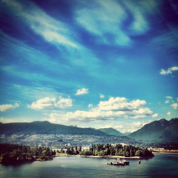 Last days of summer in BC #vancouver #bc #landscape #water #mountains #sky #cloud #skyporn #cloudporn  (Taken with Instagram at Vancouver Harbour)