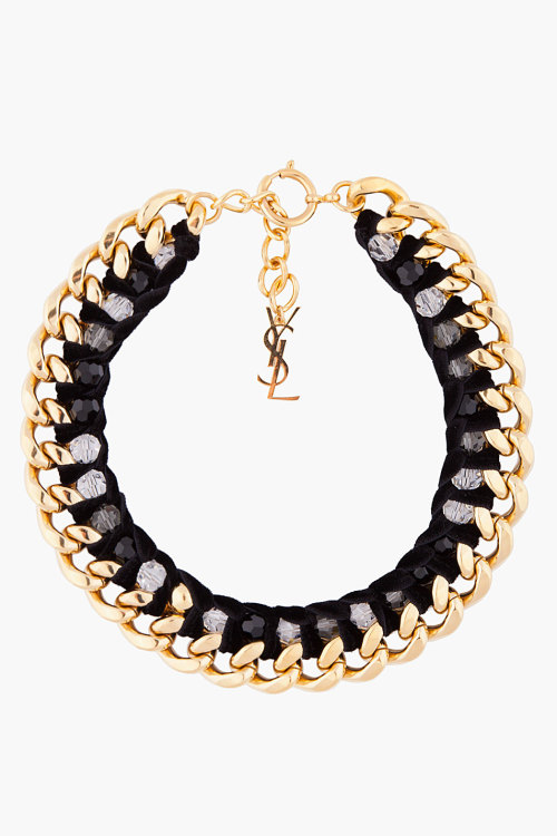 asthetiques:  YVES SAINT LAURENT - BLACK AND GOLD VELVETTE CHAIN NECKLACE.