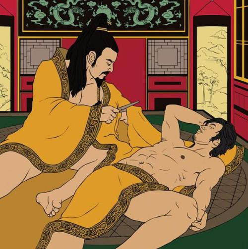 "queerkhmer:  The traditional term for homosexuality in China is ""the passion of the cut sleeve boys"" (断袖之癖), so named from the story of Emperor Ai of Han (27 BCE - 1 BCE) and Dong Xian (23 BCE - 1 BCE). As the story goes, Emperor Ai fell in love with a minor official named Dong Xian. Dong Xian quickly gained the Emperor's favor. One afternoon as they slept in bed, Emperor Ai woke up. Rather than wake his lover, he cut the sleeves of his robe to let his lover sleep longer. Homosexuality was regarded as a normal affair up until the late Qing dynasty when the government attempted to westernize the country."