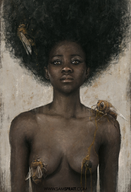 "samspratt:  ""Nectar"" - Illustration by Sam Spratt I said I was making a painting that had bees, afros, and nudity. I'm a man of my word."