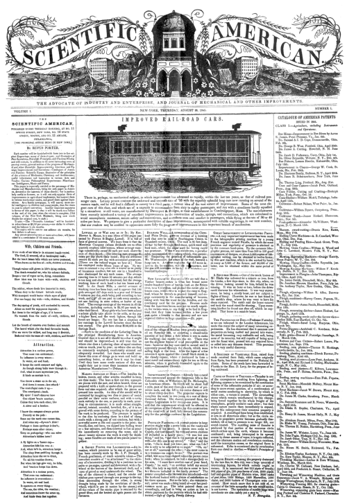 fyeah-history:   ON THIS DAY: 1845 – The first issue of the popular science magazine Scientific American was published, currently the oldest continuously published magazine in the United States.