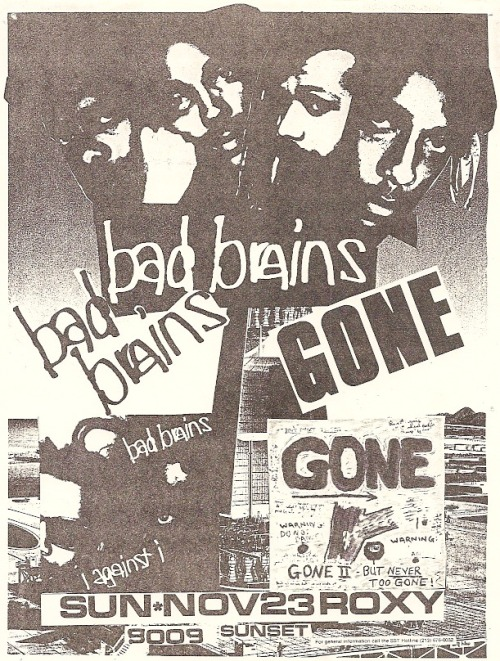 Bad Brains & Gone @ The Roxy 1986