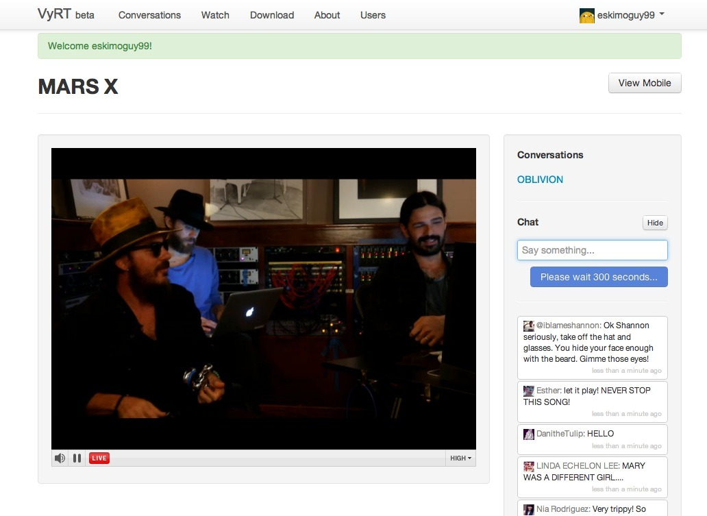 Live with 30 seconds to Mars on beta.VyRT.com! This is awesome by the way. Listening to the artists music with them live.