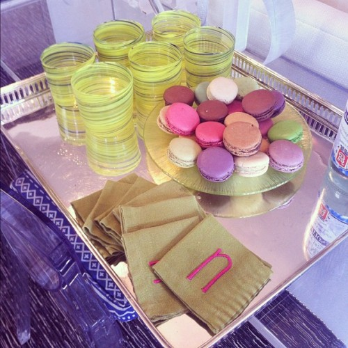 Monogrammed napkins and @MaisonLaduree macarons at @amandanisbet's today. #colorcoordinated (Taken with Instagram)