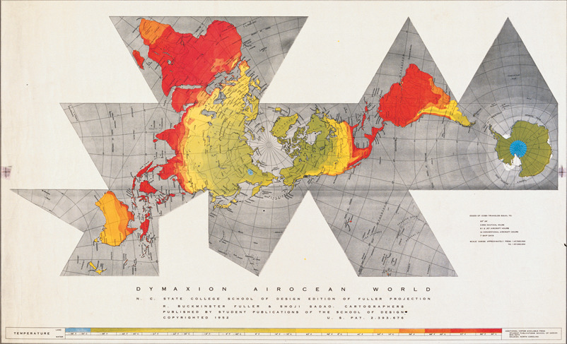 First edition of the Dymaxion Air Ocean World Map published in Life Magazine, March 1943