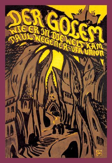 "German movie poster for the 1920 Paul Wegener silent film ""The Golem"". Click the pic to watch the movie in its entirety."