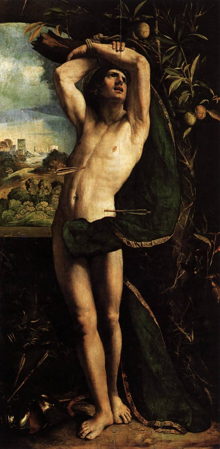 lyghtmylife: DOSSI, Dosso [Italian High Renaissance Painter, ca.1490-1542] St Sebastian-Oil on panel, 182 x 95 cmPinacoteca di Brera, Milan