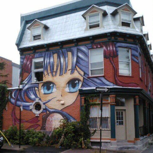 One of my #Montreal #favourites: #anime #cutie, #avenue #Duluth and #LHoteldeVille. #street #art #graffiti #Quebec #Canada #neighborhood #cute #mural #painting #instamood #instahub #instagramhub #webstagram #cool (Taken with Instagram)
