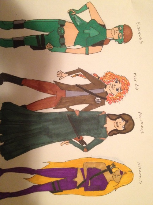 Archer ladies, costume swapped.   Edit: OH MY GOD. IT LOOKS LIKE KATNISS IS LOOKING AT A CUM STAIN ON ARTY'S COSTUME.(WALLY!) I SWEAR THAT'S AN ACCIDENT, I MESSED UP AND USED WHITEOUT AND KATNISS WAS SUPPOSED TO LOOK CONFUSED OVER HOW STRETCHY SUPERHERO COSTUMES ARE. UGH NO.