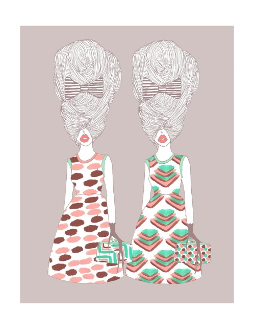 bouffantsandbrokenhearts:   Patterned dress girls.