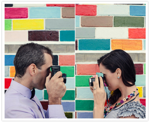 "One wall for a (color) full session! I love this engagement session by Kirralee Weddings featured on 100 Layer Cake with most of the images taken in front of a color block wall. It shows that a concept and location can be simple and still allow for amazing and emotional images. I feel like there should also be a title of ""behold the power of props"" because this couple considered the little details that really make the scenery and session tied together.  Be sure to check out the full post on 100 Layer Cake here: Colorful Engagement Shoot Now to go scout some good walls for sessions to come …"