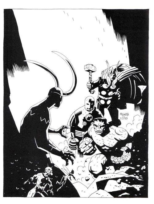 brianmichaelbendis:  Ok HERE is The Avengers by Mike Mignola