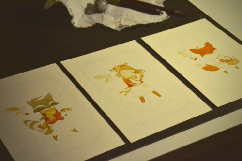 working on three paintings at the same time!