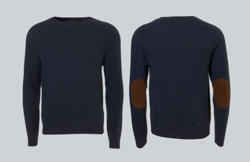 juveniletrendsetter:  Navy Elbow Patch Jumper from Topman A simple yet classic style for a fall/winter look.  Lower-budget alternative at H&M.