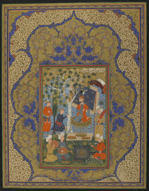 timur-i-lang:  Folio from an unidentified text; A Ruler Enthroned Painting ca. 1590; illumination ca. 1880.  Safavid and Qajar Iran, possibly Khorasan