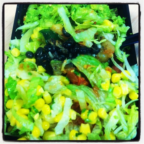 My very first Mad Mex experience!  Veggies, salad, black beans, rice, corn salsa, guacamole, and they're not kidding when they say HOT tomato salsa! WOW!  😍 (Taken with Instagram)