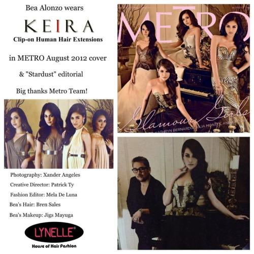 Metro Magazine August cover girl Bea Alonzo looking stellar with KEIRA Clip-on Human Hair Extensions! Also seen in Stardust editorial! Check it out :)Thanks a lot Metro Team!