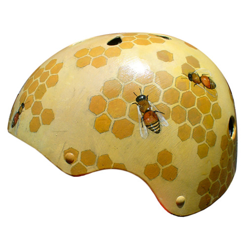 laughingsquid:  Unique & Fashionable Hand-Painted Bicycle Helmets by Belle Helmets  This helmet would certainly create a lot of buzz…… I'll show myself out.