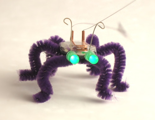 "LOOK WHAT'S COMING TO WORLD MAKER FAIRE - Blinkybugs are simple, electronic ""insects"" that respond to movement, vibration, and wind by blinking their LED eyes. What started as an afternoon DIY project has become a combination book and kit, and a project not to be missed at World Maker Faire 2012. See more of what's coming to World Maker Faire here."