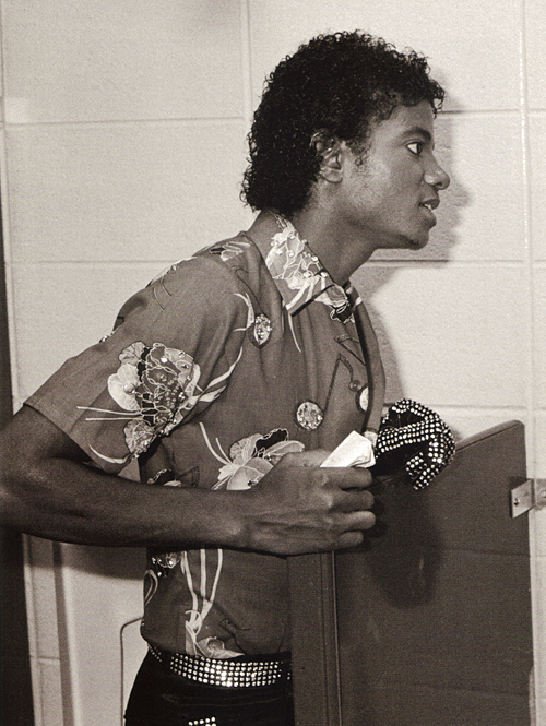 Michael Jackson in a backstage dressing room at the Triumph Tour - circa 1981.