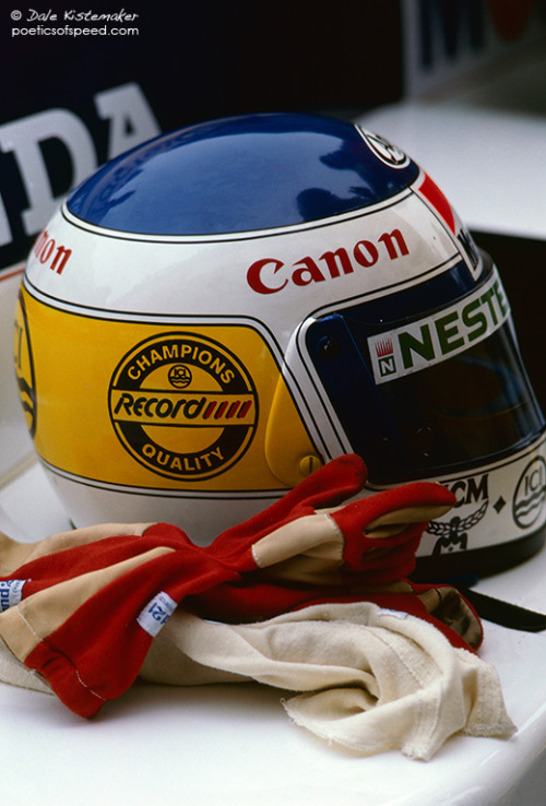 "Keke's gear. The sand dunes of Zandvoort, 1985 Dutch Grand Prix. Keke Rosberg is another driver who I think is unfairly forgotten. Laying the ground work for future Finns in the sport, he personally opened up doors for drivers JJ Lehto and Mika Hakkinen as their manager, not to mention his son and current Mercedes driver Nico. Further more, he was tenacious and ruddy quick. His qualifying lap around Silverstone in 1985 was the highest average speed a Formula One car had ever achieved around a circuit, and remained until Juan Montoya bettered it in 2002 (before bettering it once more in 2004, both at Monza). It was a symbolic achievement, as it really put a jewell in his crown as the most aggressive (in the sense of attacking the track and fighting his own car) of the turbo era, a crown he perhaps inherited during title winning season. The crown would eventually be passed on to the fiery Brit nicknamed ""il leone"" due to his own tenacity, but more on him later."