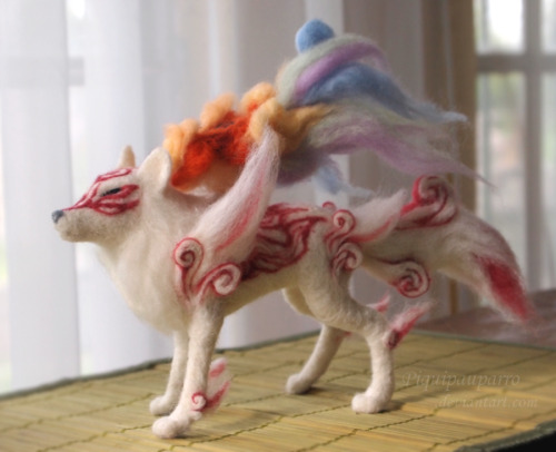 "ianbrooks:  Needle-Felted Amaterasu by Piquipauparro / Iquipau Not as big as I typically imagine a sun god, Amaterasu gets the miniaturized treatment, measuring in at 12"" long x 8"" tall and made out of wool with some wire armature.  Artist: DeviantArt"