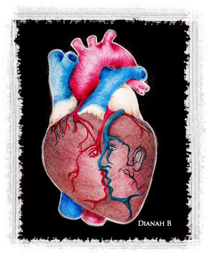 """1 HEART 4 2""01/08/2012Drawing paper, colored pencil, black ink pen and photoshop."