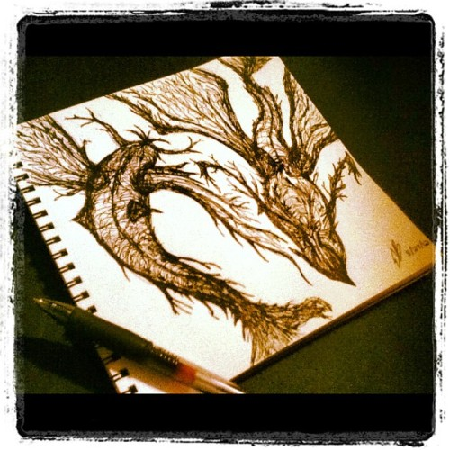 Late night free style sketching in pen. #art (Taken with Instagram)