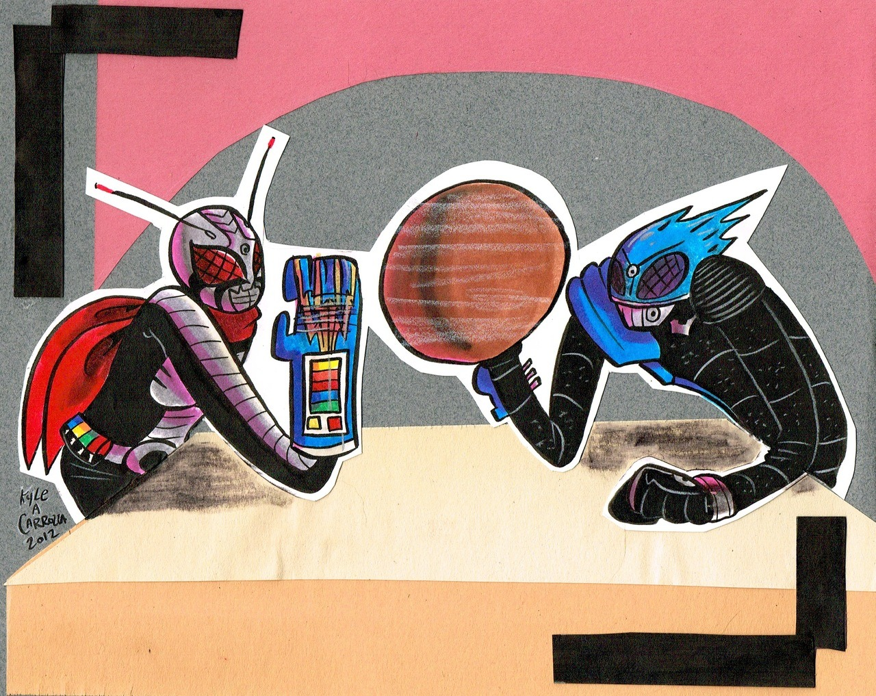 Kamen Rider Super-1 and Kamen Rider Meteor captured in the moment just before they arm wrestle. (Another potential Q-Pop piece… still deciding…)