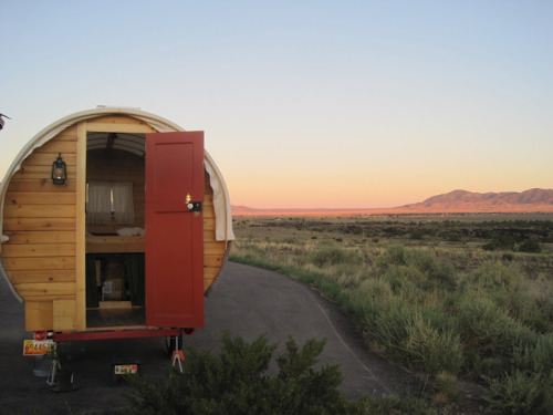 LOOK WHAT'S COMING TO WORLD MAKER FAIRE - The Whittled Down Caravan is an experiment in affordable portable housing. The canvas-topped sheepherder's wagon is powered by a 100-watt solar panel and includes a kitchen, living area and bed, and can be towed by a 4-cylinder sedan.  See more of what's coming to World Maker Faire here.