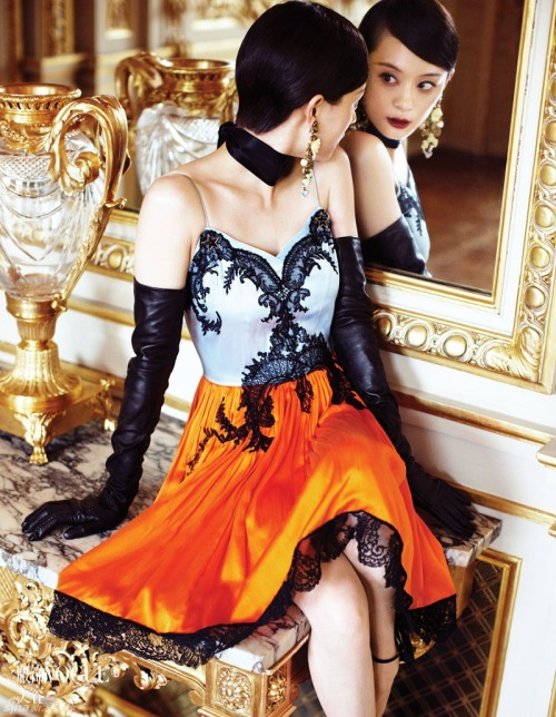 thelingerieaddict:  So much lust for this dress. spinningbirdkick:  Kai Z Feng / Vogue China Collections Fall 2012.