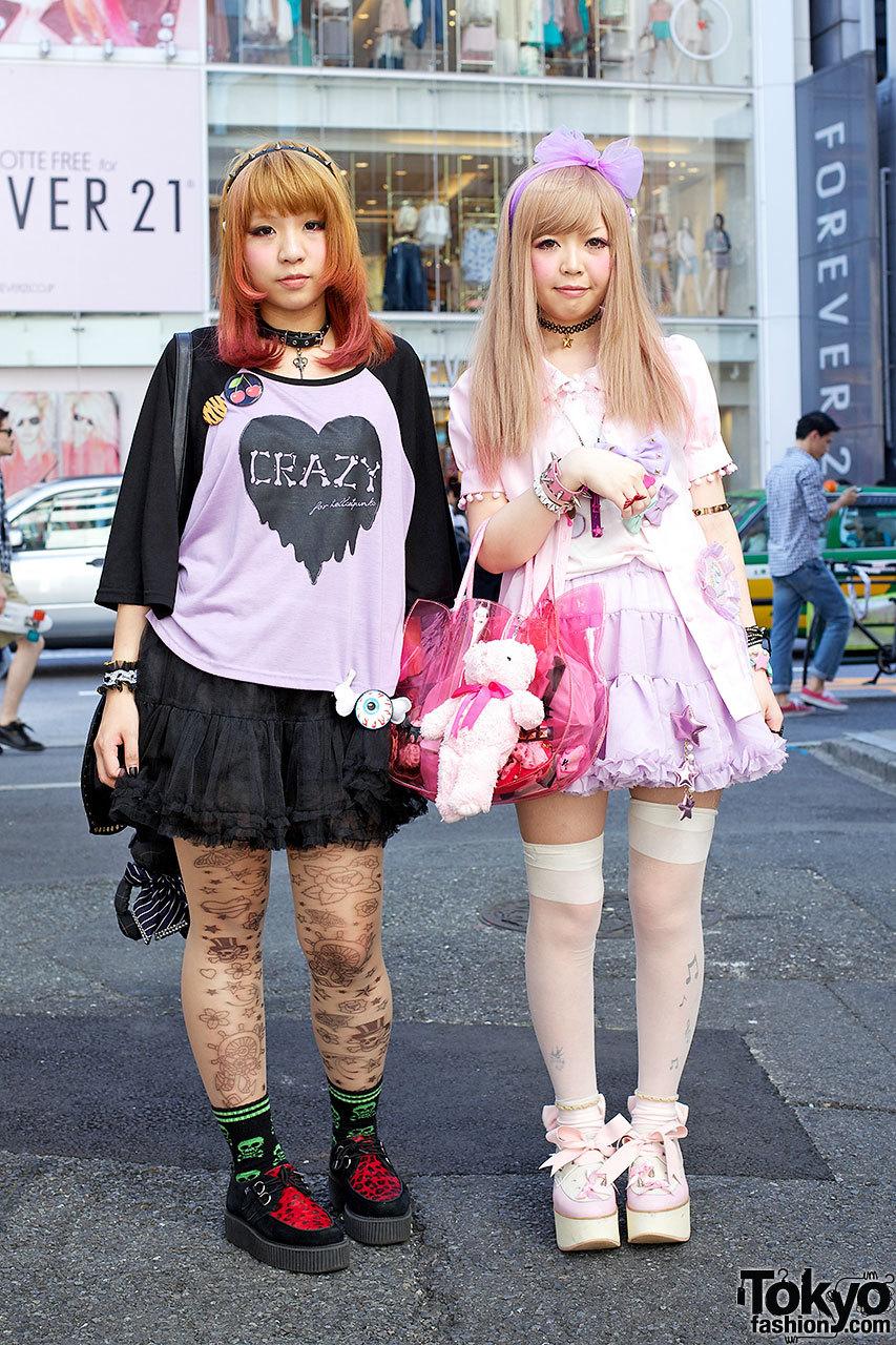 Fun girls in HellcatPunks, Milklim, Dazzlin & Snidel on the street in Harajuku.