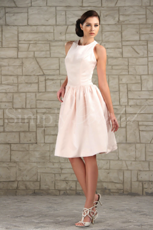 simplybridal:  Jewel Neckline Sleeveless Satin Dress