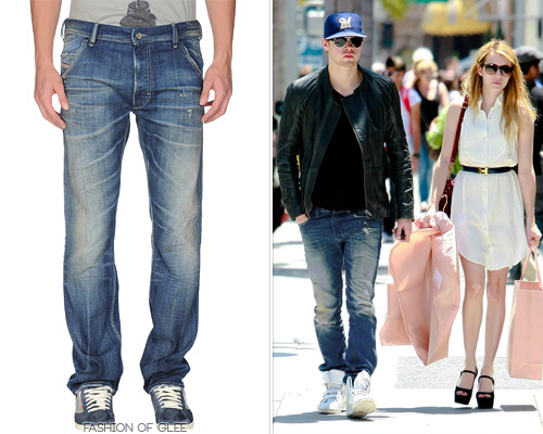 Chord Overstreet and Emma Roberts go shopping, Beverly Hills, July 15, 2011 Chord's favorite jeans are this mottled pair by Diesel; a little ripped, a little worn. He's worn them everywhere! Diesel Krooley Distressed Jeans - $203.00 Worn with: Creative Recreation sneakers Also worn: Frequently