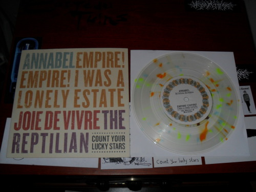 "Annabel / Empire! Empire! (I Was A Lonely Estate) / Joie De Vivre / The Reptilian Split 7"" Count Your Lucky Stars, 2011 Clear with light blue, light purple and light yellow splatter /400"