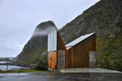 Roadside Rest Stop Akkarvikkoden by Manthley Kula Architects, in Lofoten, Norway. After a strong storm swept the previous one away, the decision came to open a new, stronger rest stop near the arctic cycle.  This distant little building is eye candy for the architecture-likers really. The interior is a must see too!