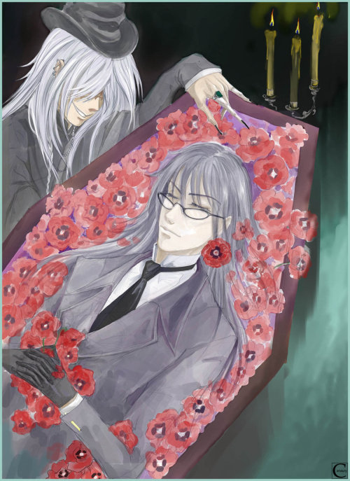 Ooc: How beautiful~! I love how the fanart was drawn! The coffin, the candles, the crimson colored flowers and of course Undertaker! ^/////^ However, I'm not sure who is laying in the coffin, though. It looks like Undertaker when he use to be a shinigami officer but according to the title, it saids Undertaker and Vincent. o.o Is it Canaury's OC? I'm not sure but this fanart is beautiful! It's by the wonderful Canaury on DeviantART.com! <3