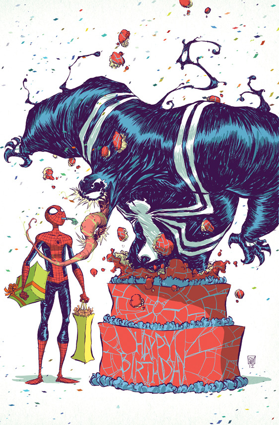 Spider-Man and Venom birthday Created by Skottie Young Website || deviantART || Tumblr