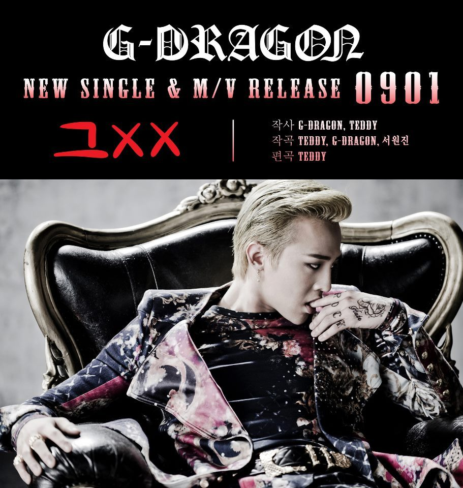 G-Dragon Facebook: [G-DRAGON - NEW SINGLE & M/V RELEASE 0901]