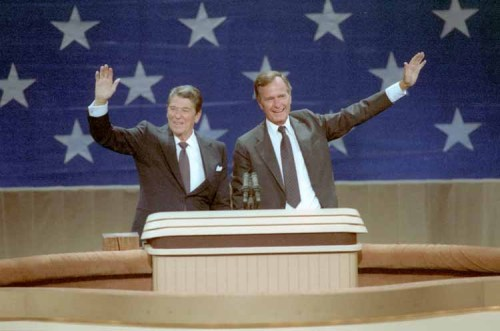 The Republican National Convention, twenty-eight years ago- President Ronald Reagan and Vice President George Bush at the 1984 RNC in Dallas, Texas. 8/23/84. More - Campaign Photos from the Reagan Library