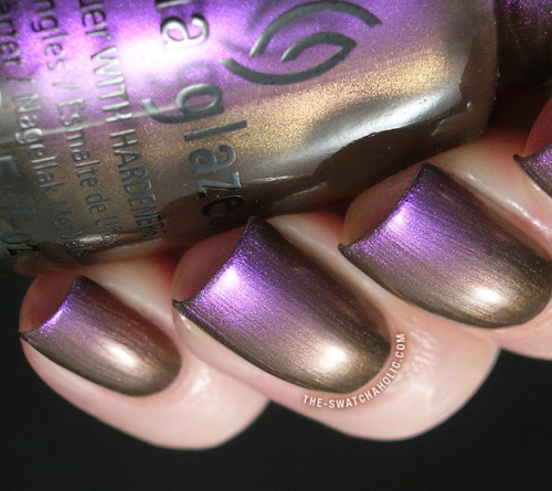 "China Glaze ""No Plain Jane"" — a purple-to-bronze-shifting duochrome polish (via China Glaze New Bohemian Collection: Swatches and Review 