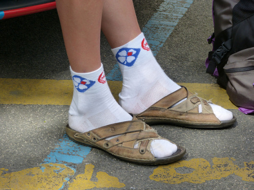 Socks and sandals. (via me - Vuelta a España 2012)