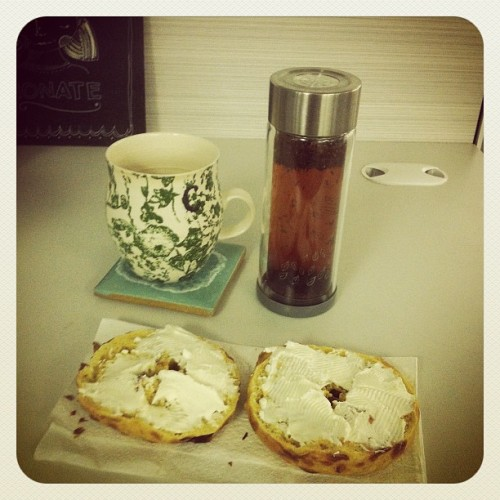 Bagels in the office?? Awesome! And my rooibos tea.  (Taken with Instagram at Collinson Media and Events)