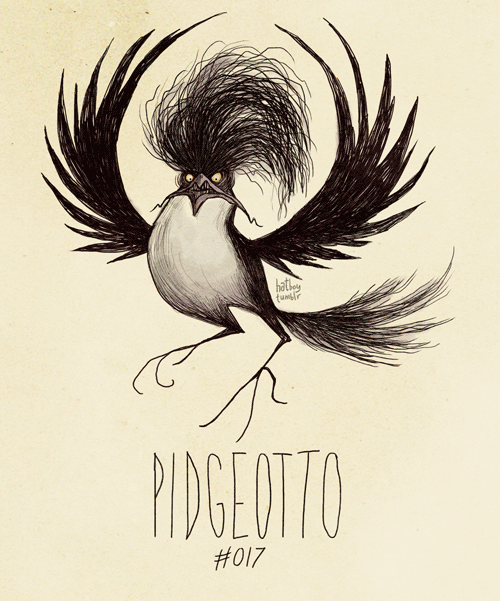 "hatboy:  Pidgeotto #017 (Tim Burton Inspired Pokemon Re-design) ""PIDGEOTTOOOOOOOOOO!"" it screeched."