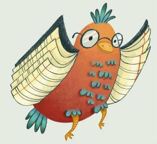 Book-bird / Libro-pájaro (ilustración de Laura Wood)