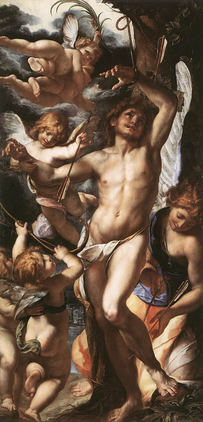 oldroze: Giulio Cesare Procaccini (1574 - 1625) St Sebastian Tended by Angels 1610 - 1612Musées Royaux des Beaux-Arts, Brussels, BelgiumPainting, Oil on wood, 285 x 139 cm