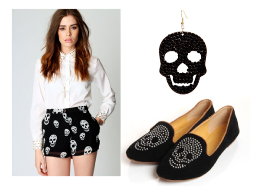 Studded white blouse, chiffon skull shorts and skull loafers from boohoo.com Skull earrings from prettylittlething.com