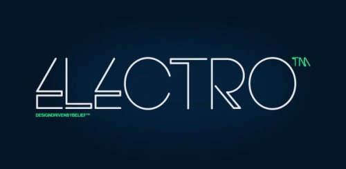 Electro Font An experimental typeface by HypeForType. Geometric lines with sharp edges give this font its futuristic look. You can buy the Electro font from MyFonts and there is also a free version available for non-commercial use here. via: WE AND THE COLORFacebook // Twitter // Google+ // Pinterest