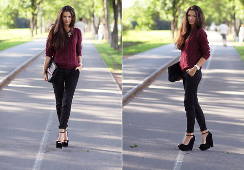 Burgundy sweater (by Rita Ross)