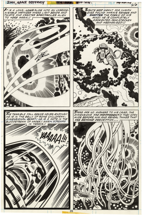 Jack Kirby was born 95 years ago today in the Lower East Side. He was a visionary storyteller who revolutionized superhero, adventure, science fiction and romance comics. In his first act, he co-created Captain America and a number of other Golden Age superheroes. In his second, he worked with Joe Simon to create romance comics. In his third, he co-created almost all of the characters in the early Marvel Universe. In his fourth act, he created the Fourth World, which for my money is still the most intriguing 'universe' in Marvel or DC.   My father was a huge Kirby fan, and introduced me to his work at a very young age. I was particularly moved by his more contemporary (for the '80's) and somewhat less celebrated work, like Captain Victory and the Galactic Rangers and his adaptation of  2001: A Space Odyssey. I loved to imagine possible meanings for Kirby's abstract images and indescribably complex devices. Kirby created worlds in which the reader could imagine that anything was possible.  I was lucky enough to meet the man once at a New York comic convention in the late 1980's. For a man who had accomplished so much, he was remarkably kind and humble.    Long live the king.   Jack's granddaughter has started a Kirby4Heroes campaign supporting the Hero's Initiative's efforts to create a basic safety net for retired comic creators. Some comic shops in California and Midtown Comics in New York have signed up to donate a portion of sales today to the Initiative. This is a really nice gesture, but if you want to support more directly (I don't know how large that portion is), donate to the Heroes Initiative w/ a Kirby4Heroes tag. via Kirby Museum.  Tom Spurgeon collected some great links for today, including a great piece from Steven Brower about Kirby and collages, a Comics Journal interview from 1990 (conducted by Gary Groth), and an 'oral history' of the creation of Marvel's superhero line from the 20th Century Danny Boy blog.  The image above is from the fourth issue of 2001: A Space Odyssey (pg. 26) with inks by Mike Royer, via What If Kirby.